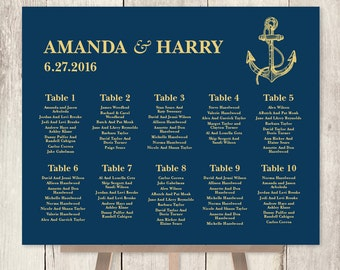 Nautical Seating Chart DIY / Nautical Wedding Sign / Gold Anchor / Gold and Navy / Seating Sign ▷ Printable File {or} Printed & Shipped