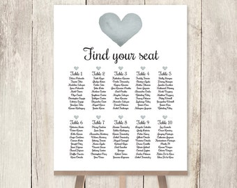Elegant Wedding Seating Chart DIY / Silver Gray Heart, Watercolor Heart, Elegant Calligraphy / Find Your Seat Poster ▷ Printable PDF