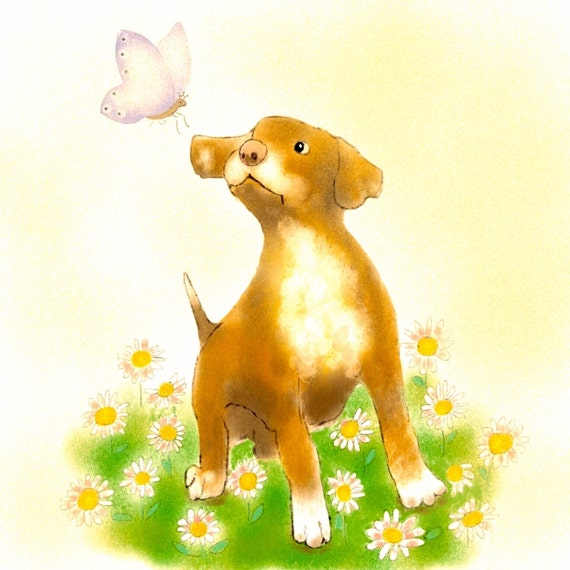 Art Print Puppy with Butterfly,Nursery Art,