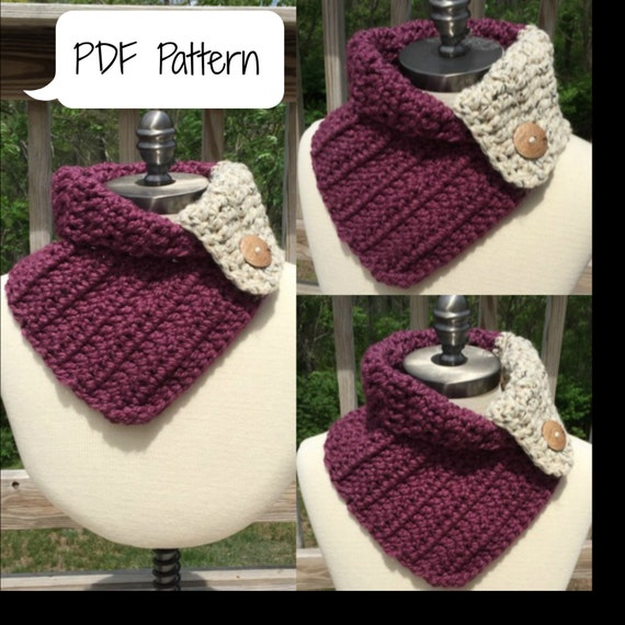 CROCHET PATTERN beginner: The Ellie Cowl Chunky Cowl Scarf