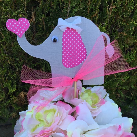 pink and gray elephant baby shower centerpiece by sparklingcuts