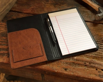 Amish Leather Notebook Portfolio Handmade in Black or Brown Cowhide