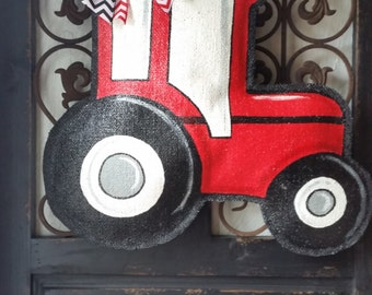 Red tractor hand painted burlap door hanger, welcome sign