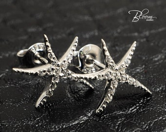 White Gold Sea Star Earrings, Solid 14 karat Gold and Cubic Zirconia, Starfish Studs, White Gold Starfish Stud Earrings, Starfish Earrings