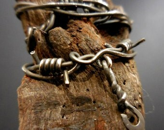 Old Fence Post Brooch -  sterling silver, driftwood