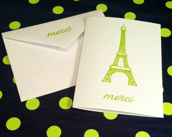 Thank You Folded Note Cards and Envelopes - Merci - Eiffel Tower - Lime Green and White - Set of 8