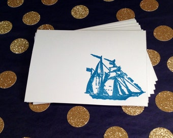 Nautical Folded Note Cards and Envelopes - Blue and White - Set of 8