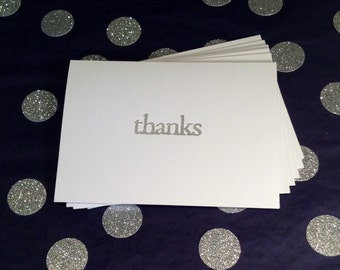 Thank You Notes - Folded Cards and Envelopes - Silver and White - Set of 8