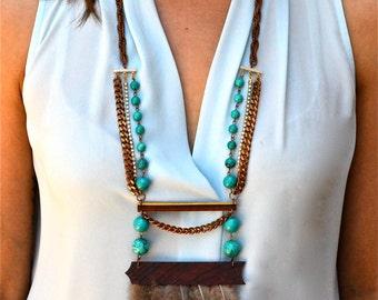 Boho Chic Statement Necklace, Wood Statement Necklace, Turquoise Statement Necklace, Long Necklace, Long Wooden Boho Chic Necklace