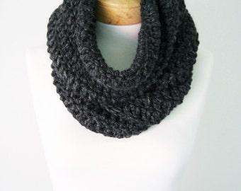 Chunky Knit Scarf, Black Infinity Scarf, Handmade Scarf, Women's Scarf, Men's Scarf, Wool Scarf