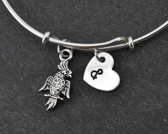 Parrot Bangle, Sterling Silver Bangle, Parrot Bracelet, Bridesmaid gift, Personalized Bracelet, Charm Bangle, Monogram, Initial Bracelet