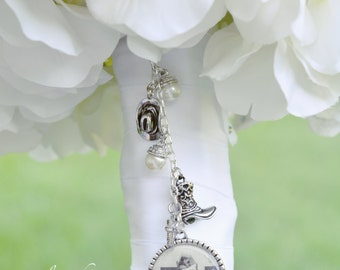 Wedding Bouquet Picture Charm, Bridal Bouquet Jewelry, Country Western Wedding Bouquet Charm - Rustic Bouquet Charm - Bridal Gift