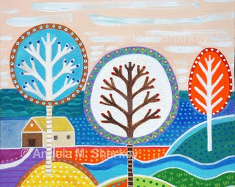Tree art, contemporary landscape, fine art, whimsical landscape, wall art, trees, colorful canvas art signed by Angela Sharkey