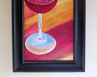 Red Wine Painting on Canvas with Frame, Artist-Signed Original Acrylic Painting, Kitchen or Dining Room Wall Art, Black Frame Included