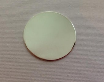 1 & 1/8 inch Sterling Silver disc circle hand stamping Blank 28mm 20g thick