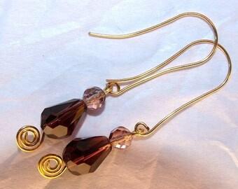 Purple Crystal Earrings, Wirewrapped Copper Earrings, Bridal Jewelry, Dangle Earrings, Handmade Earrings