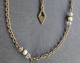 Ethnic bronze double necklace, pearl beads and crystal.