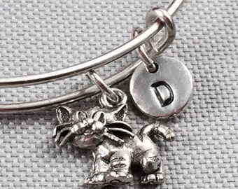 Cat bangle bracelet, cat bracelet, animal jewelry, personalized bracelet, initial bracelet, kitty bracelet, cat charm bracelet, animal