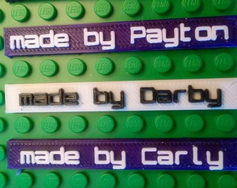 Personalized Lego Name Plate Birthday Party Favors