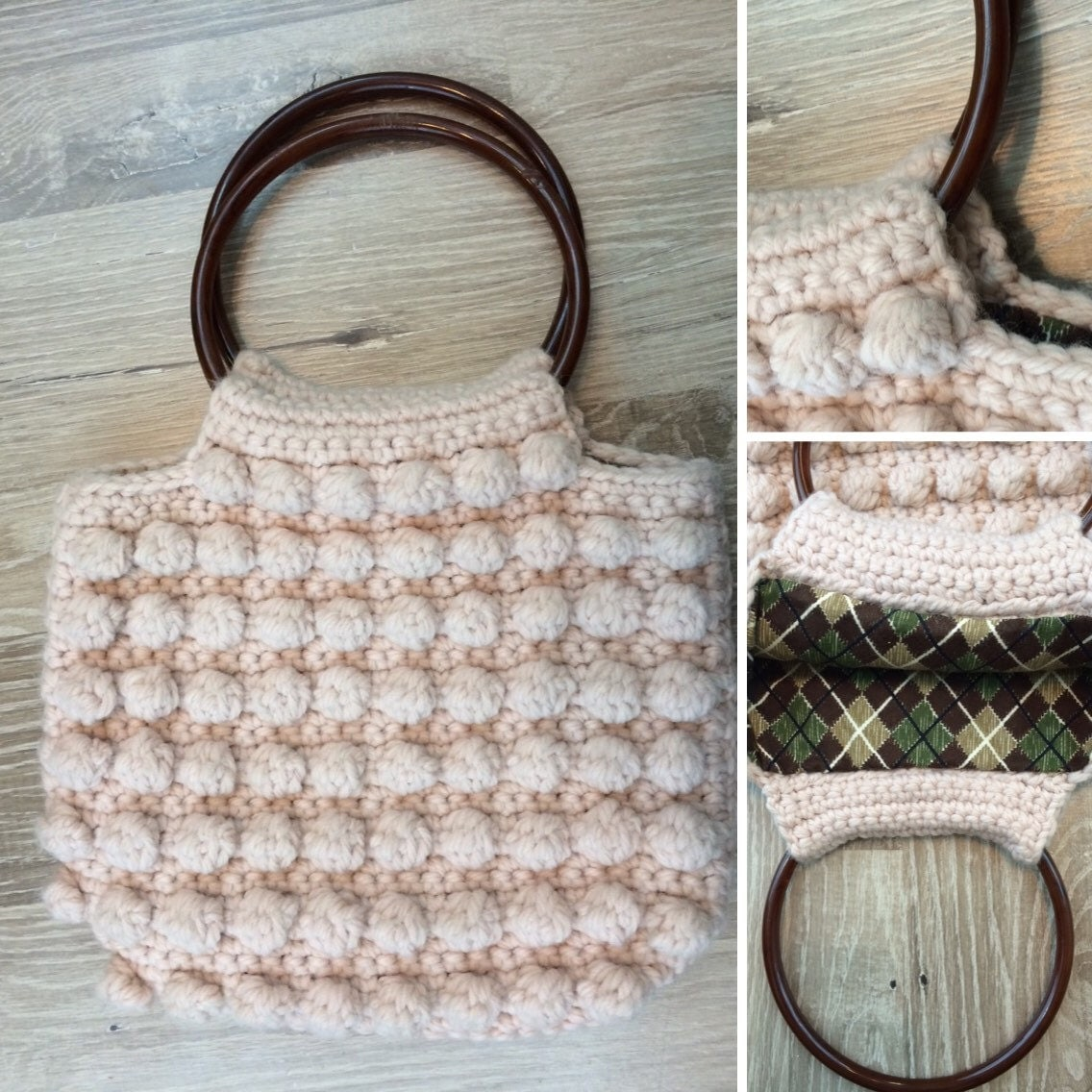 Crochet Handle For Purse : Crocheted bag/purse with plastic hoop handles by SouthBoundVtg