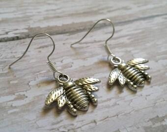 Silver Bee Earrings, Honey Bee Earrings, Silver Bug Earrings, Simple Bee Earrings, Insect Earrings, Bee Drop Earrings, Queen Bee Earrings