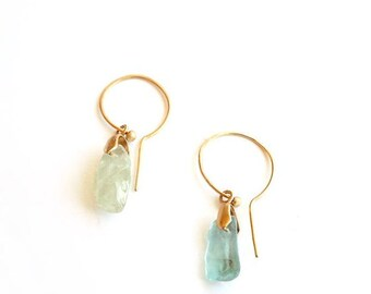 EAD2015 100 & 101 of 365 Gold Plated Sterling Silver Aquamarine Earrings