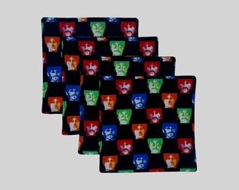 Beatles Coasters, Mod Coasters, Housewarming Gift, Drink Coasters, Fabric Coasters, Beatles Fabric, Beatles Drink coasters