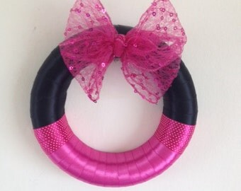 Minnie Mouse inspired pink and black wreath