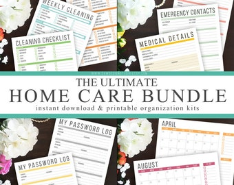 Ultimate Home Care Bundle - Instant Download - Printable DIY Household Management - Calendar, Password, Cleaning and Emergency Kits Included