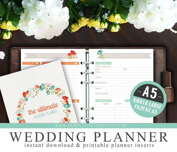 A5 Ultimate Wedding Planner Organizer Kit - Instant Download - Printable DIY - 48 Unique Pages - To Do List, Budgets & More - Wedding Binder