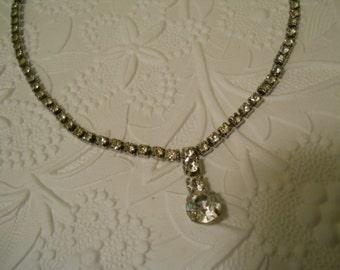 "SALE! / Vintage Rhinestone Drop Necklace 15"" Choker"