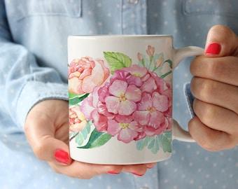 Coffee Mug Beautiful Hydrangea and Peonies Mug
