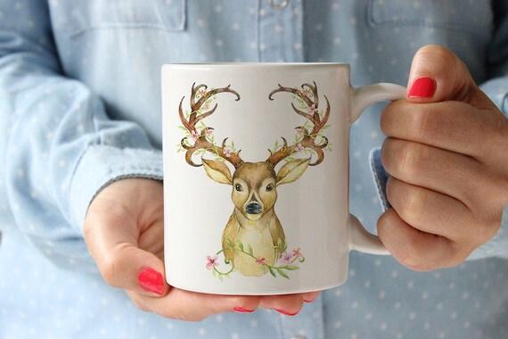 Coffee Mug Deer with Antlers Coffee Mug - Floral Antlers