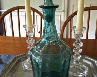 1940-50 Italian free-blown aqua/blue glass decanter with open pointil-probably made in Murano