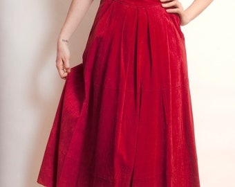 Vintage Red Suede Leather Western Cowboy Maxi Skirt