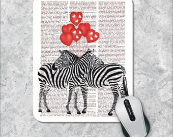 Dictionary Art Mousepad, Zebras in Love  Mouse Pad, Heart Mouse Mat, Custom Mousepad, Book Art Mousepad Vintage Mousepad Dictionary Page Art