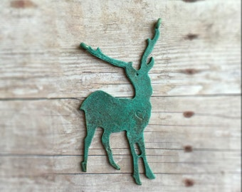 Hand-painted antelope deer pendant, Verdigris over antique bronze tone alloy metal, painted on front only, jewelry supplies, 60x26mm
