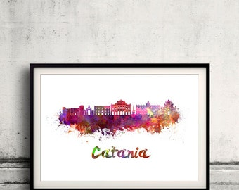 Catania skyline in watercolor over white background with name of city 8x10 in. to 12x16 in. Poster Wall art Illustration Print  - SKU 0533