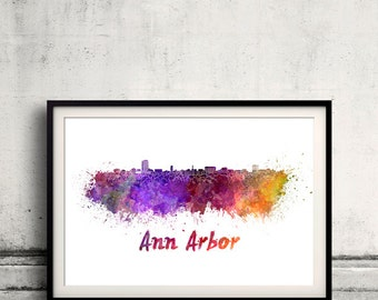 Ann Arbor skyline in watercolor over white background with name of city 8x10 in. to 12x16 in. Poster art Illustration Print  - SKU 0564