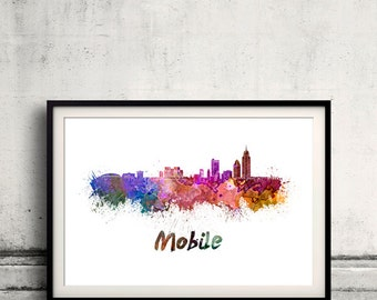 Mobile skyline in watercolor over white background with name of city 8x10 in. to 12x16 in. Poster art Illustration Print  - SKU 0571