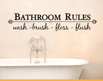 Bathroom Rules Wash Brush Floss Flush Decal   Removable Wall Decal Sticker   MS079VC