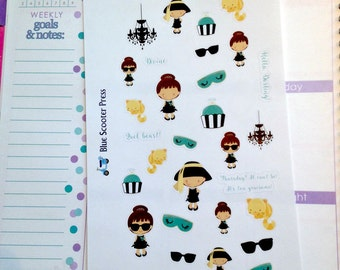 DT101G// Holly Golightly Breakfast at Tiffany's Themed Stickers. 31 GLOSSY Planner Stickers.