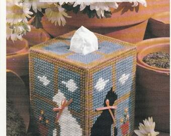 Kitty Cat in Windowsill Tissue Box Cover in Plastic Canvas