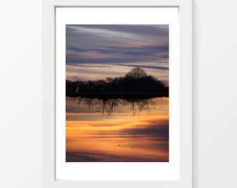 """UpSideDown / Sunset violet orange printable art wall art home decor downloadable art to print at home or at a print shop/ A4 and 8.5"""" x 11"""""""