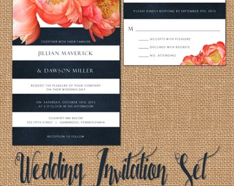 Wedding Invitation Suite, Navy Blue Wedding Invitation, Blue Stripes, Coral Watercolor Flower Wedding Invitation