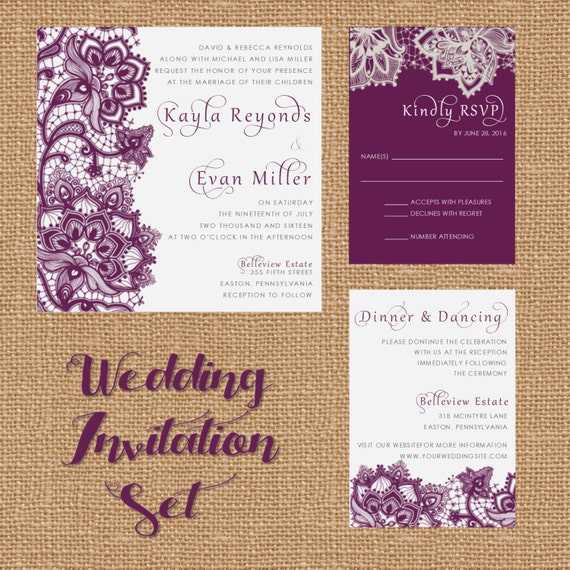 Plum And Silver Wedding Invitations: Silver Purple Gray Plum Lace Wedding By WhiteLaceStylists