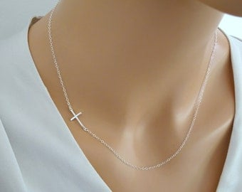 Sideways Sterling Silver Cross Necklace, Slim Cross Necklace, Baptism, Christening, First communion necklace