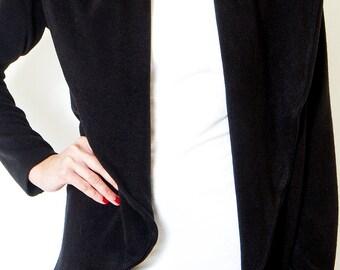 Black Cardigan oversized wrap Jacket loose sweater  Knit Office Tops