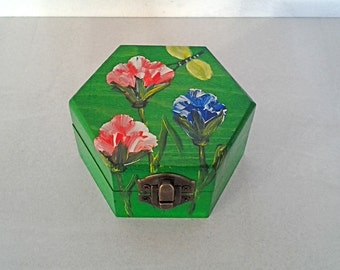 Small hexagonal wooden box with carnations hand painted and glossy finish / Little wooden Hexagon box with hand-painted carnations