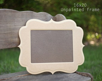 16x20 Picture frame, whimsical frame, 16x20  frame, wooden frame, handmade frame, unfinished frame, curvy frame, picture frame